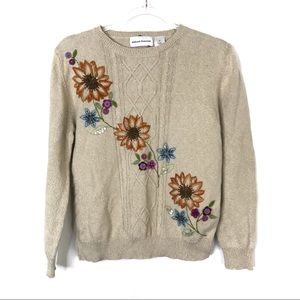 Alfred Dunner | Tan Sunflower Embroidered Sweater